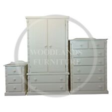 HANDMADE SOLID PINE DIANA 3 PIECE BEDROOM SET IN WHITE, (ASSEMBLED)
