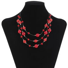 Women Red Multilayer Choker Necklace Statement Gothic Necklace Ethnic Jewelry