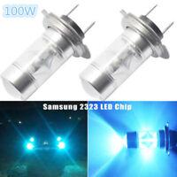 2 PCS H7 100W Samsung 2323 LED 8000K Ice Blue Projector Fog Driving Light Bulbs