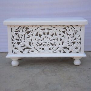 MADE TO ORDER Indian Hand Carved White Blanket Box Trunk Coffee Table Chest M