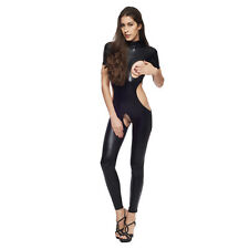Sexy Ladies Catsuit Full Bodysuit Open CROTCHLESS Wet-Look PVC Fetish One Size