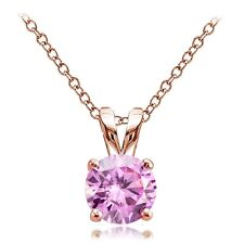 Rose Gold Tone on Silver 1.25ct Pink Cubic Zirconia 7mm Round Solitaire Necklace