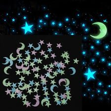 100pcs 3D Star Moon Glow In The Dark Luminous Ceiling Wall Stickers Room Decor