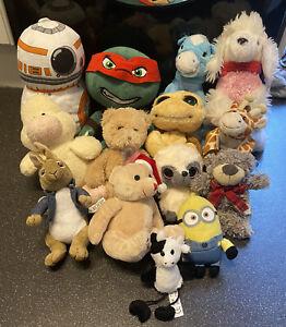 Job Lot Bundle Soft Toys Plush Animals Teddy's Star Wars Peter Rabbit X14 VGC