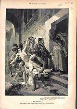 Le Bon Samaritain Tableau de Edmond Louis Dupain  GRAVURE ANTIQUE OLD PRINT 1878