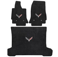 C7 Corvette Coupe 3PC black carpet custom fit floor mat W/C7 Logo Fits 2014-2017