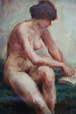 Tableau ancien, Jeune femme à la lecture, Nu, Huile sur toile, Signé