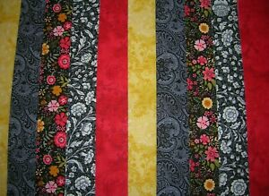 """10 JELLY ROLL STRIPS BLACK & RED 44"""" X 2.5""""  100% COTTON PATCHWORK/QUILT ERB"""