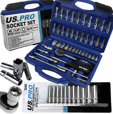 "BERGEN Sockets & DEEP Socket Set 1/4"" Drive Tool Set With Ratchet Torx Hex UJ PZ"