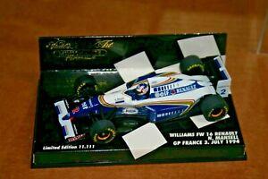 1/43 WILLIAMS RENAULT FW 16 1994 NIGEL MANSELL GP FRANCE ELF MINICHAMPS