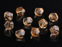 30pcs 10mm Twist Helix Crystal Glass Finding Loose Spacer Beads Gold Champagne