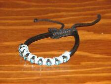 Blue Rhinestones & Laced Leather Cord Jewelry Sliding Shamballa Bracelet