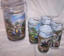 John Deere Ffa Fairground Tractor Restoration Pitcher & Glass Set Acrylic 5 Pc