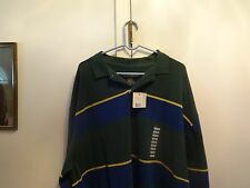 NWT Mens Mountain Lake Green and Blue XXL L/S Polo