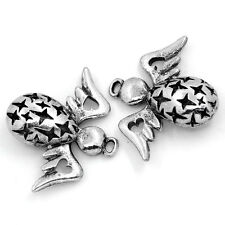 "25PCs Charm Pendants Angel Wings Silver Tone 3.5cmx2.8cm(1 3/8""x1 1/8"")"