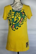 ROXY Womens Yellow Multicolor Cap Sleeve Dyed Flower Cotton T Shirt Top Size L