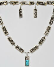 P. Sice Sterling Silver Navajo HOPI Turquoise Ball Clusters Necklace Earring Set