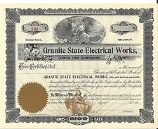 GRANITE STATE ELECTRICAL WORKS.......EARLY 1900'S UNISSUED STOCK CERTIFICATE
