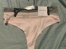 CALVIN KLEIN WOMEN'S COTTON THONG UNDERWEAR PANTIES 2 PACK PINK AND GRAY MEDIUM