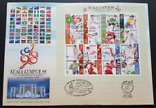 1998 Malaysia XVI Commonwealth Games 16v Stamp Sheetlet FDC (Kuala Lumpur Cachet