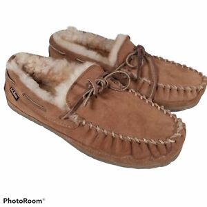 LL BEAN Men's Brown leather Wicked Good Shearling Moccasin Slippers Size 7 NICE!