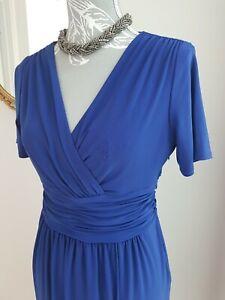 Evan Picone Royal Blue Wrap Dress Size Uk10 Us6 Wrap Ruched Glam stretch