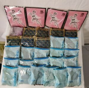 New! Vintage 80s Silkies Lot Of 30 ControlTop Pantyhose Nylons L Taupe