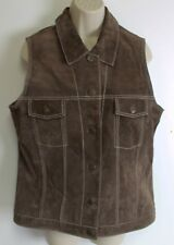 Brandon Thomas Brown Leather Suede Vest Womens Sz Lg Lined Sleeveless jacket