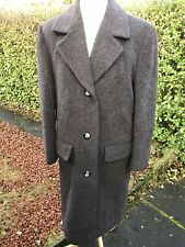 Grey Pure new Wool alpaca Long Coat Size UK 10 Grunge Fluffy Teddy Bear Soft