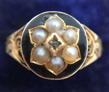 Stunning Ornate Victorian Diamond & Pearl Enamel Ring Set In 15ct Yellow Gold