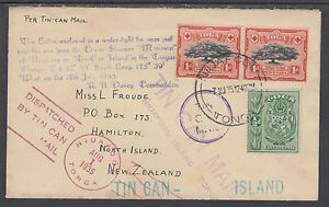 Tonga Sc 39, 40 pair on 1935 Tin Can Mail Cover to New Zealand, VF