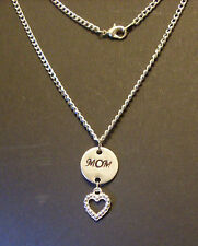 "Personalized Hand Stamped ""MOM"" Mother Name Aluminum Necklace with Heart Charm"