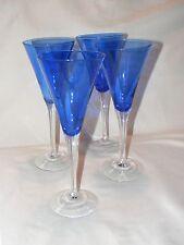 "CHAMPAGNE FLUTE, Blue Glass, Trumpet shape Wine Glasses, Set of 4, 9"" tall"