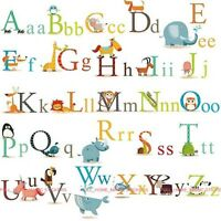 XL Animal Alphabet Letters A-Z Wall Stickers Art Decal Educational Kids Learning