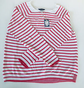 Joules Vicky Linen Mix Raglan Jumper (Pink Stripe Breton)  Size 16  New With Tag