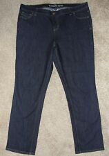 New Women's Lands End Jeans Sz 16 Straight Stretch Dark Classic Rise