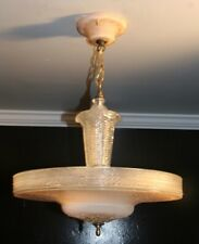 Antique 16 inch pink glass Art Deco ceiling light fixture chandelier 1940s