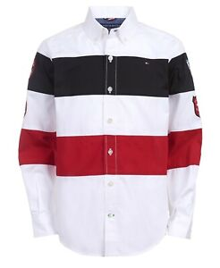 Tommy Hilfiger Little Boys Philip Stripe Patch Poplin Shirt  Bright White Size 4