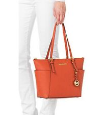 Michael Kors Jet Set EW Leather Tote Orange Shoulder Bag