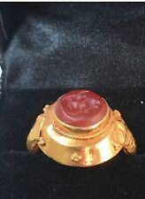 Vintage High Carat Gold. Carnelian Seal Ring. Size L. U.S. Size 6