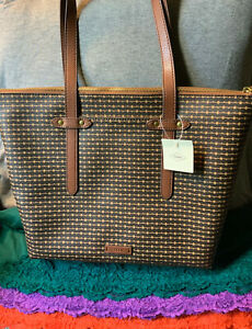 Fossil Felicity Brown Multi-Color PVC Zip Shoulder Bag Hobo Tote & Shopper