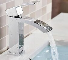 NEW! Square Spout Basin Mixer Water Tap Waterfall Chrome Bath Brass faucet