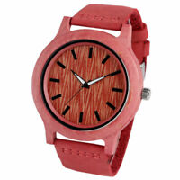 Simple Wooden Watch Bamboo Nature Wood Genuine Leather Strap Men Quartz Watches