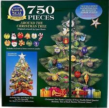 """Vintage 1997 Bits & Pieces 3D Jigsaw Puzzle """"Around The Christmas Tree"""" 750pc"""