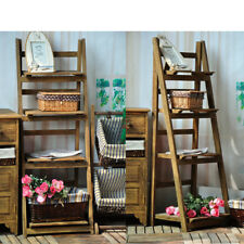 4 Tier Brown Ladder  Book CaseShelf Display Unit Free Standing/Folding/Shelves