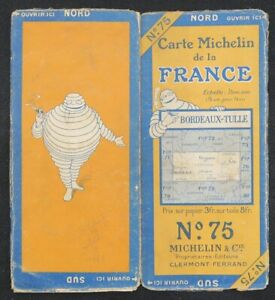 Carte MICHELIN 75 BORDEAUX TULLE 1924 Guide Bibendum pneu tyre map