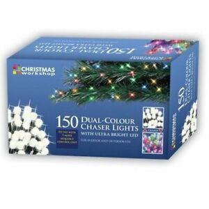 150 LED Dual Chaser Lights Warm White / Multi Coloured Christmas Lights