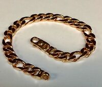"""10k Solid Yellow Gold Handmade Figaro Curb Link Chain/Bracelet 9"""" 38 Grms 8 MM"""