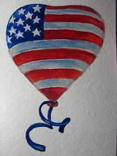 Watercolor Painting American Flag Balloon ACEO Art