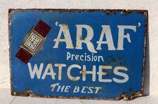 Vintage Old ARAF Precision Watches Ad Porcelain Enamel Sign Board Switzerland